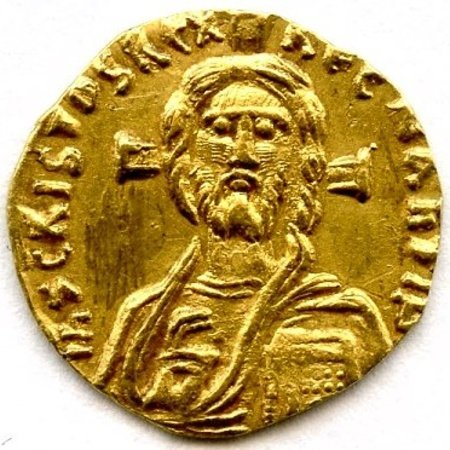 "The first coin to portray Christ. ""Gold tremissis of the Byzantine Emperor Justinian II,"" 685-695."