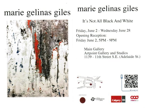 "Marie Gelinas Giles, ""It's Not All Black and White,"" Invitation"