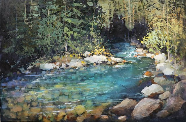 "Linda Wilder, ""Creekside Reflections,"" nd"