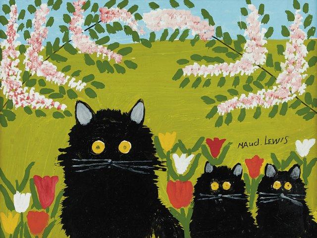 """Maud Lewis, """"Three Black Cats,"""" n.d."""