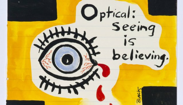"Gordon Bennett, ""Notepad Drawings: Optical: Seeing is Believing, ""  1995"
