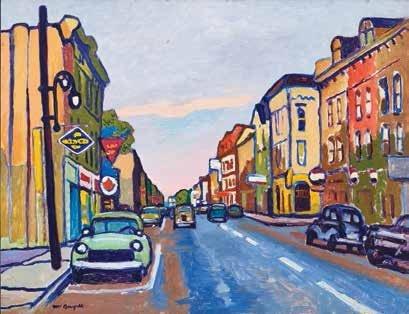 "Clark McDougall, ""Talbot Street, St. Thomas, Looking East to Metcalfe Street,"" circa 1950"