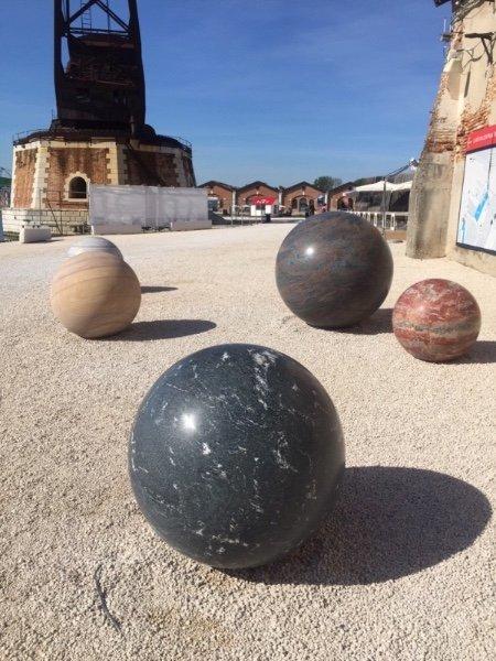 Mariechen Danz and Alicja Kwade's sculpture installation, public grounds of the Arsenale, Venezia