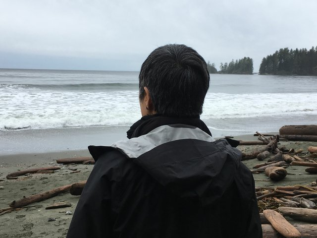 """Jin-me Yoon, Site visit for """"Long View,"""" Florencia Beach, Pacific Rim National Park Reserve"""
