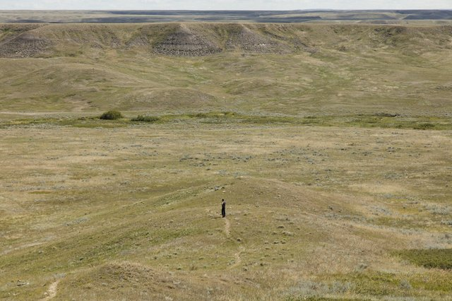 "Michael Belmore, Site visit for ""Coalescence"" in Grasslands National Park"