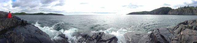 "Rebecca Belmore,  Site visit for ""Wave Sound,"" Pukaskwa National Park"