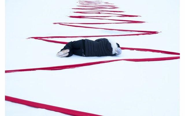 """Maureen Gruben, """"Stitching My Landscape,"""" 2017"""