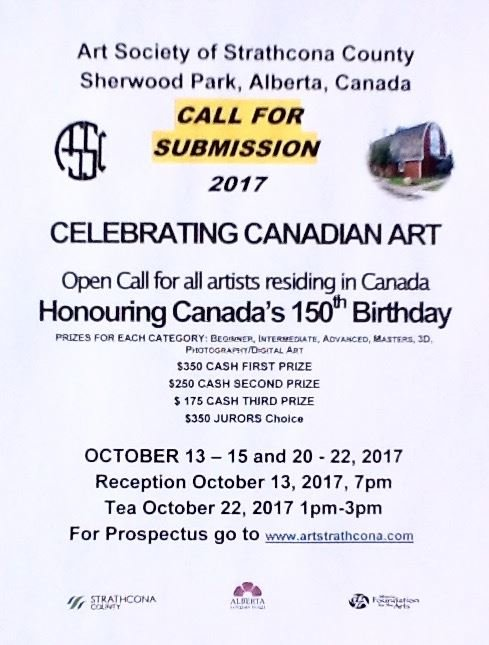 Art Society of Strathcona County Call for Submission poster