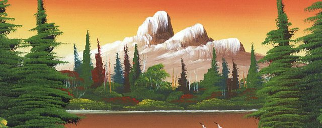 """Levine Flexhaug, """"Untitled (Mountain lake with deer),"""" nd"""