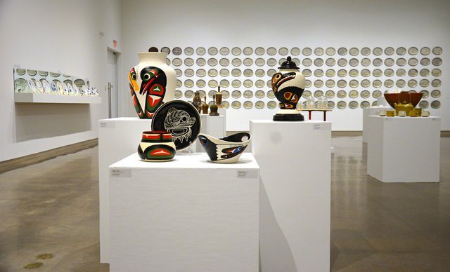 """""""Oh Ceramics,"""" installation view showing works by Stewart Jacobs in foreground"""