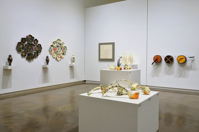 """""""Oh Ceramics,"""" installation view showing works by Candice Ring, Russell Hackney, Michael Flaherty and Veronika Horlik (left to right)"""
