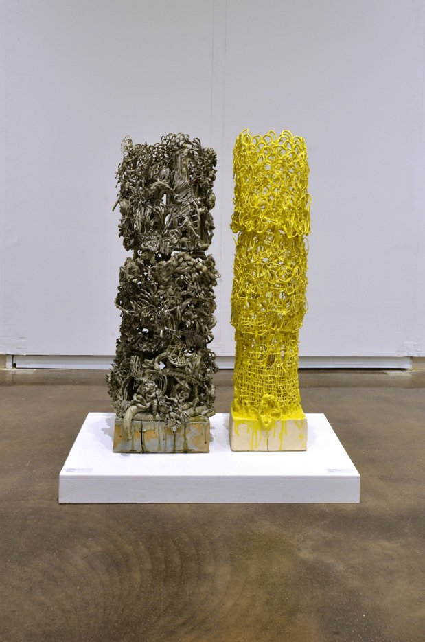 """Alwyn O'Brien, """"A Matter of Shadows Part 1 (grey) and Part 2 (yellow),"""" 2017"""