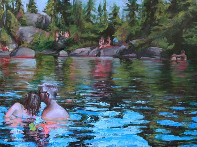 "Cath Hughes, ""Bathers at Mystery Lake,"" 2015"