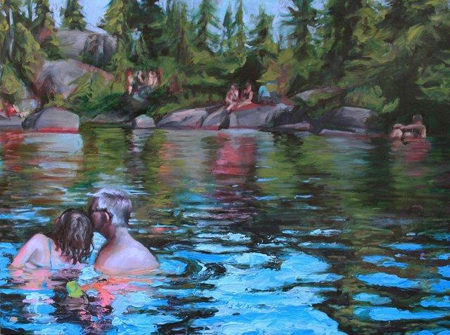 "Cath Hughes, ""Bathers at Mystery Lake,"" 2015"
