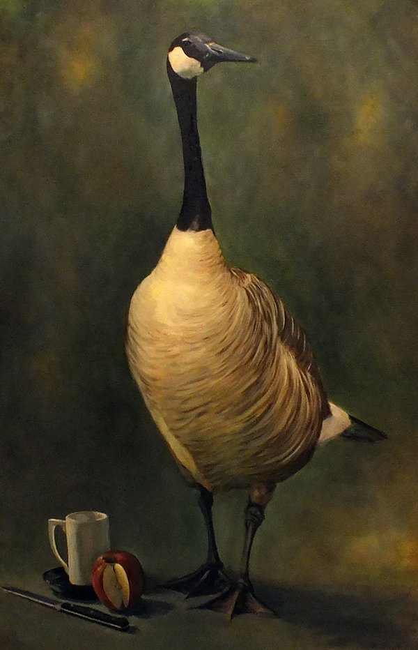 "Michael Corner, ""Goose with Apple,"" nd"