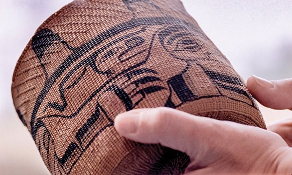 Kaayd hllngaay skaayxan (spruce-root basket), with Wasgo (Sea Wolf) imagery, c. 1890 – 1920. Woven by Skidegate Haida artist, and painted by Neeslant, John Cross (1867 – 1939)