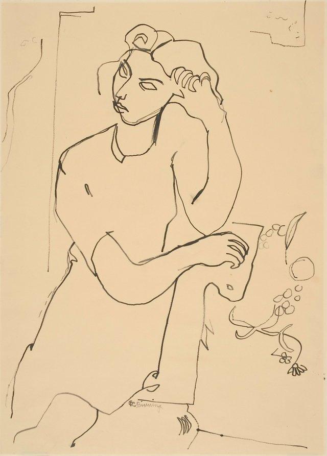 "Charles Bertram Binning, ""Girl in Deep Thought,"" nd."