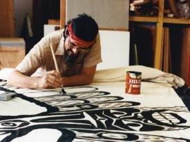 Kike-in painting the thliitsapilthim of Ha'wilth Nuukmiis