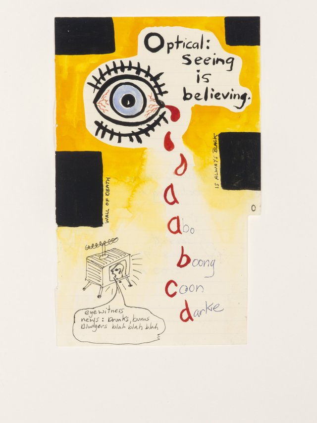 "Gordon Bennett, ""Notepad Drawings: Optical: Seeing is Believing,"" 1995"