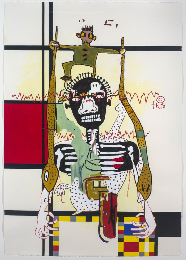"Gordon Bennett, ""Notes to Basquiat: To Dance on a Tightrope,"" 1998"