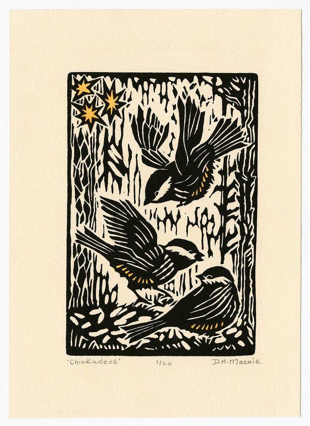 """D. Helen Mackie, """"Chickadees,"""" 1988"""