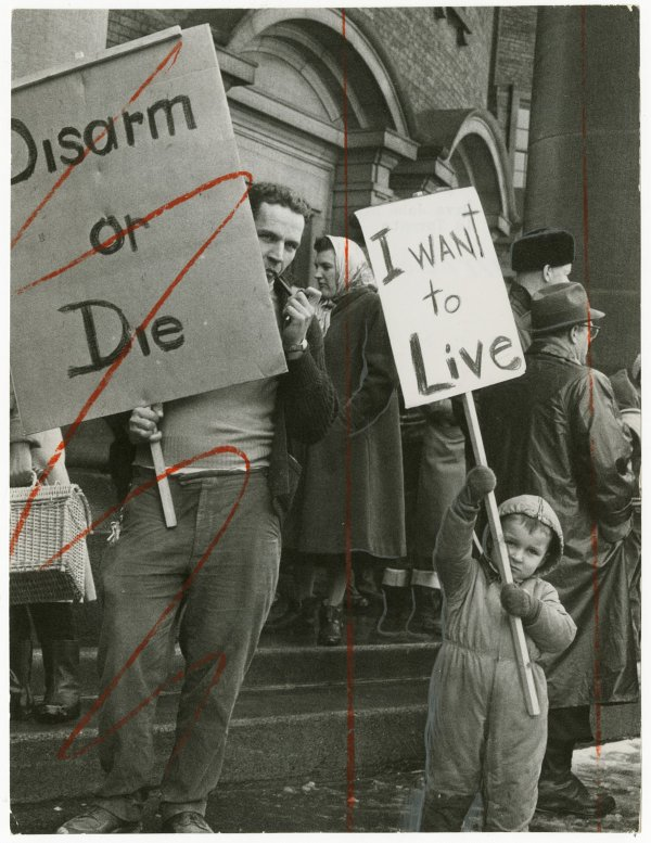 """Unknown Photographer, """"Dave John Bryant and son in Toronto for peace demonstration,"""" 1961"""