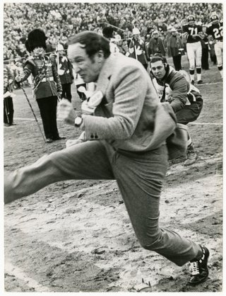 """John Maiola, """"Prime Minister Pierre Elliott Trudeau donned cleats for a kickoff that travelled less than 10 yards,"""" 1968"""