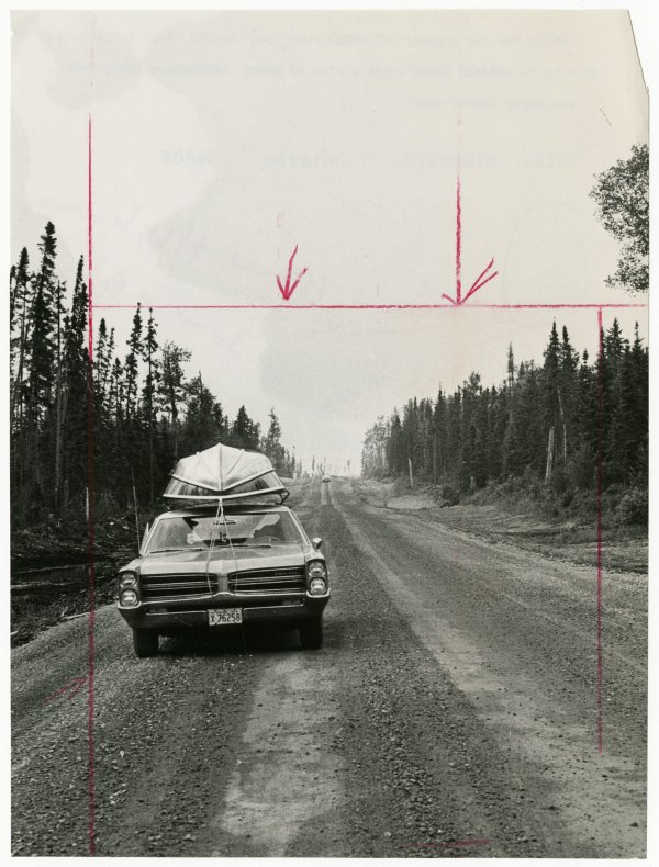 """Unknown Photographer, """"Along the new Highway 807, which runs from Smooth Rock Falls to Fraserdale, Ontario, there's not a sign of human habitation apart from one empty lumber camp,"""" circa 1966"""