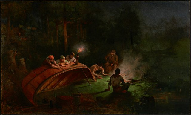 "Frances Anne Hopkins, ""Canoe Party Around a Campfire,"" 1870"