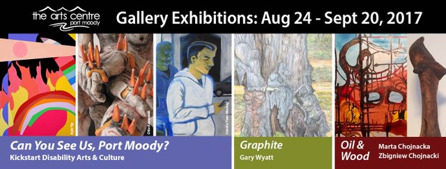 Can You See Us Port Moody?, Oil & Wood, and Graphite Exhibitions Invitation