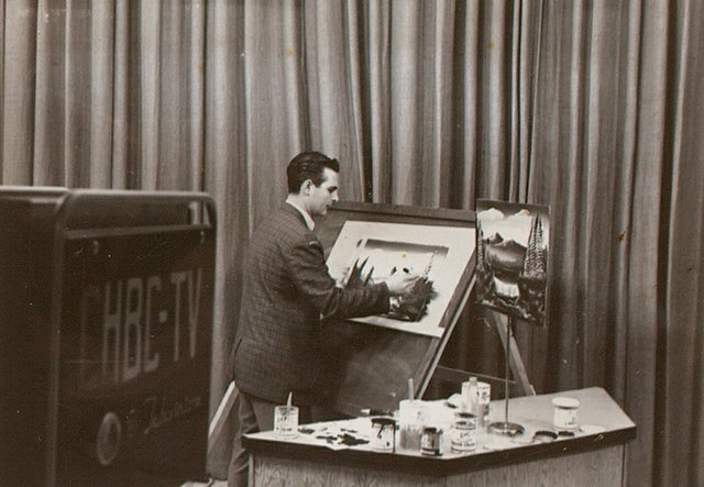 Peter Soehn working at CHBC TV in Kelowna, B.C., in the 1960s. Detail from Soehn Family Photos (1950s-1990s), documented by Scott August, 2015
