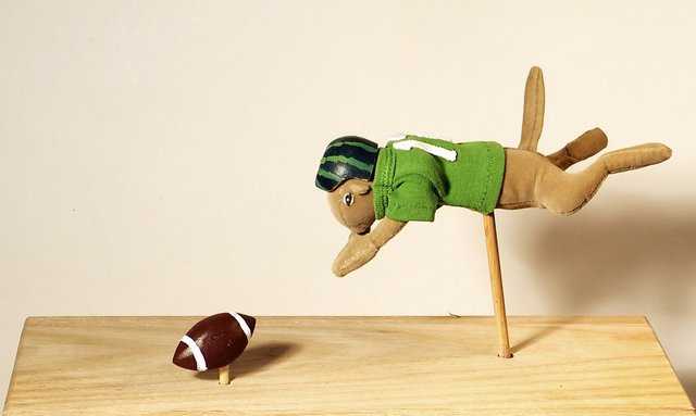 "Mary Romanuck, ""Fumble Recovery,"" sculpture and mixed media"
