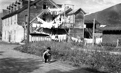 Laundry day 1943 at the Langham during the Japanese Canadian Internment.  Kootenay Lake Archives, Kaslo, B.C.