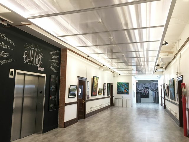 Four hallways in the former school are now galleries for displaying art