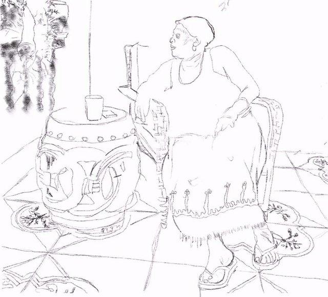 "Curtis Santiago, ""Mumala on Veranda (detail),"" 2016"