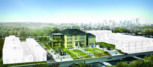 Architect's rendering of cSPACE showing proposed condominium development and seniors' housing.