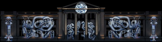Rendering by Go2 Productions of a monumental projection to be presented by Vancouver-based artist Shawn Hunt on the Georgia Street façade of the Vancouver Art Gallery as part of Façade Festival 2017.