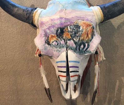 """Jerry Berthelette, """"Buffalo skull painted with acrylic,"""" 2017"""