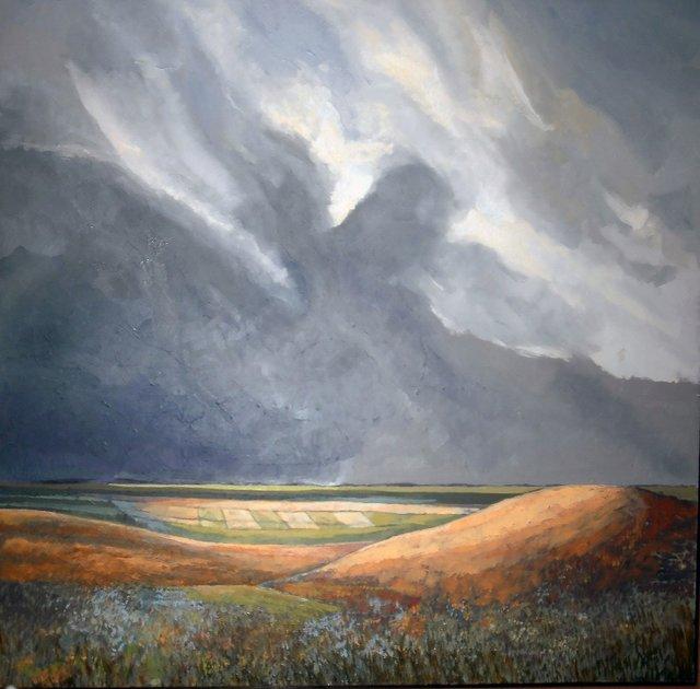 "Chris Stoffel Overvoorde, ""Rain & Clouds Near Vulcan, Alberta,""  nd"
