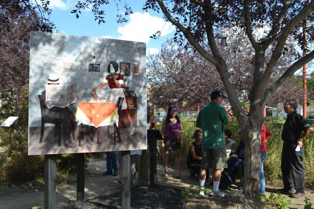 Public unveiling of Xiao Han's work about Yee Clun and the White Women's Labour Law, a permanent installation in Regina's Art Park in August.