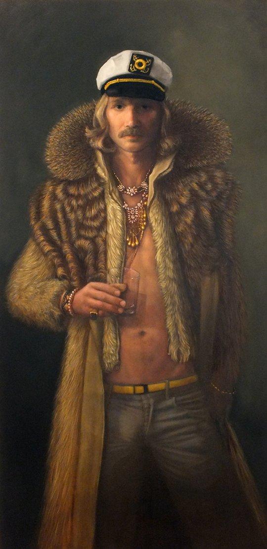"Michael Corner, ""Self Portrait with Fur Coat,"" 2017"