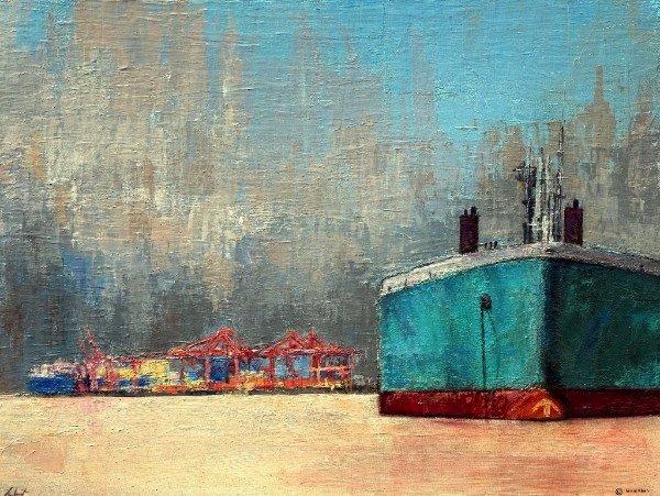 """Ishrat Khan, """"Bulk Carrier, The Port of Vancouver,"""" nd"""