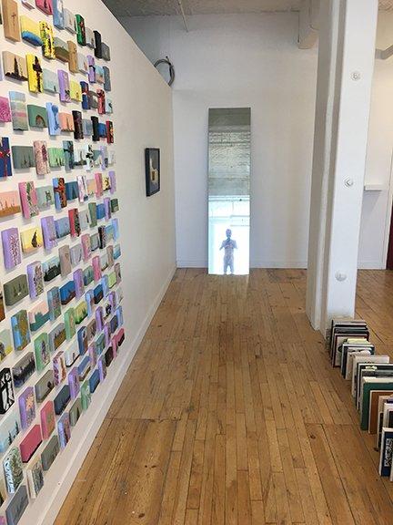 "Cliff Eyland, ""Treaty Landscapes,Selfie Mirror, Gallery Bookshelf,"" 2017"