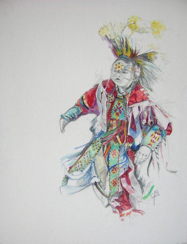 """Sylvie Nadeau, """"PowWow dancer 1,"""" nd"""