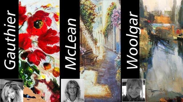 "Joanne Gauthier, Janice McLean, & Susan Woolgar Title: (in order of appearance) ""Green Bronze Metallic"" by J. Gauthier, ""Sit Awhile"" by J. McLean, ""Bow Waters #1"" by S. Woolgar, 2017"