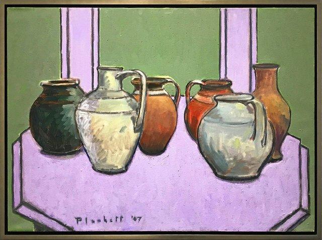 "Joseph Plaskett, ""Pots on Octagonal Table (4),"" nd"