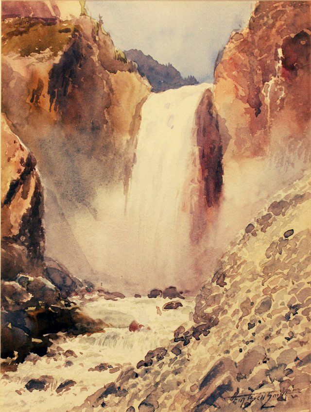 """Frederic Marlett Bell-Smith, """"Waterfall in the Canadian Rockies,"""" circa 1890"""