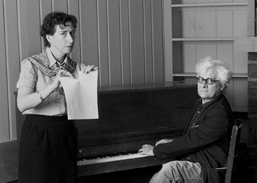 "Carol Sawyer ""Natalie Brettschneider and unknown pianist, the Banff Centre for the Arts,"" c. 1951"