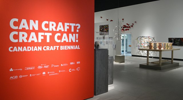 Installation view of the 2017 Canadian Craft Biennial at the Art Gallery of Burlington