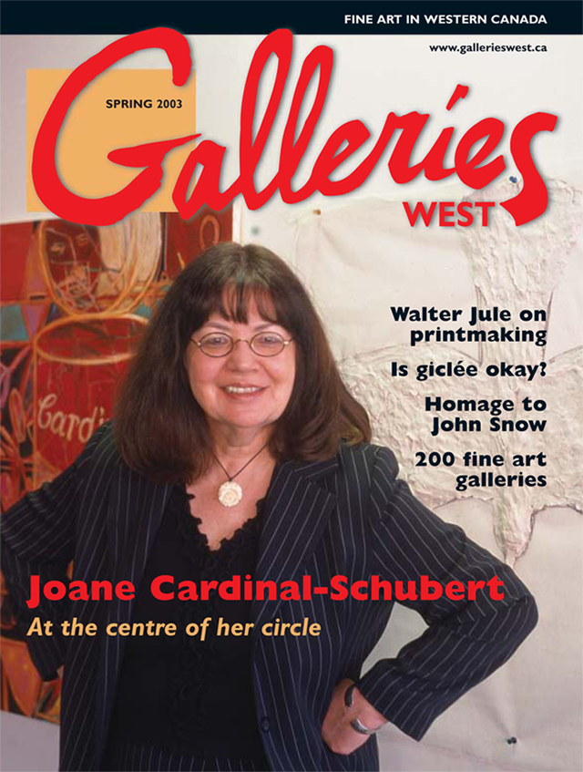 Joane Cardinal-Schubert on cover of Spring 2003 issue of Galleries West